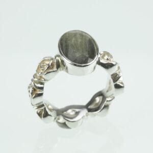 Ring Silber/Rosenringband mit Labradorit