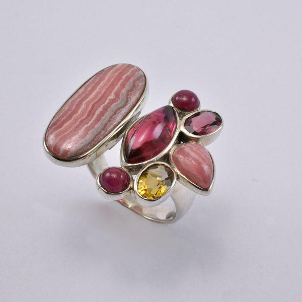 Ring Silber mit Rhodochrosit/Rubin/Granat/Citrin