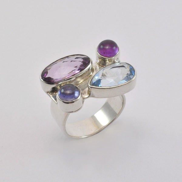 Ring Silber mit Amethyst/Blautopas/Iolith
