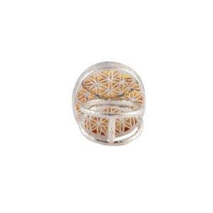 Ring Silber mit Bernstein & Blume des Lebens Design